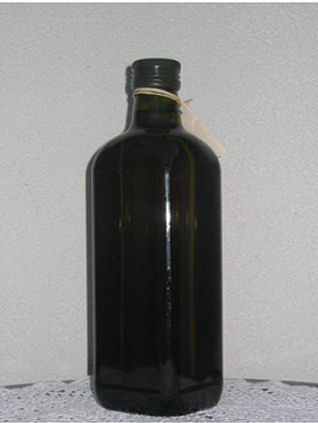 Glass bottle, green square - products of olive oil Oleo Dorato, Pula, Istria